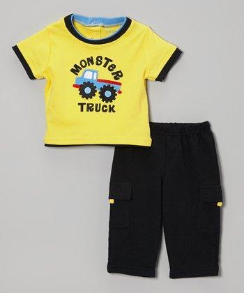 Weeplay Kids Yellow & Black 'Monster Truck' Tee & Pants - Infant