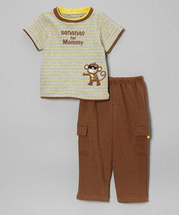 Brown & Yellow 'Bananas for Mommy' Tee & Pants - Infant