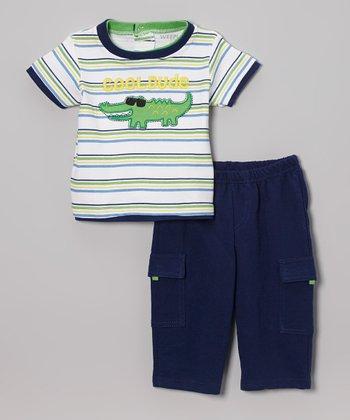 Weeplay Kids Green & Blue Alligator 'Cool Dude' Tee & Pants - Infant