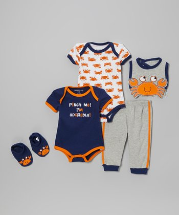 Orange & Gray Crab Bodysuit Set - Infant