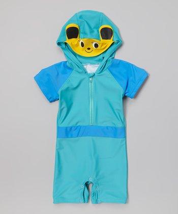 Blue Animal Hooded One-Piece Snap Rashguard - Toddler