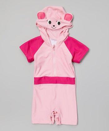 Pink Animal Hooded One-Piece Snap Rashguard - Toddler