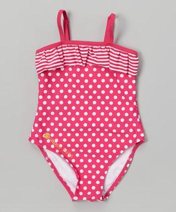 Pink & White Polka Dot Stripe Snap One-Piece - Infant & Toddler