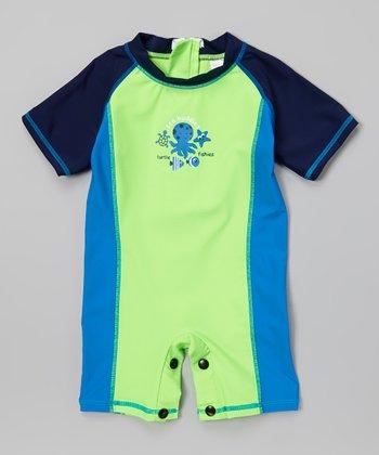 Green & Blue Sealife One-Piece Snap Rashguard - Infant & Toddler