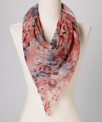 Betsey Johnson Coral Leopard Scarf