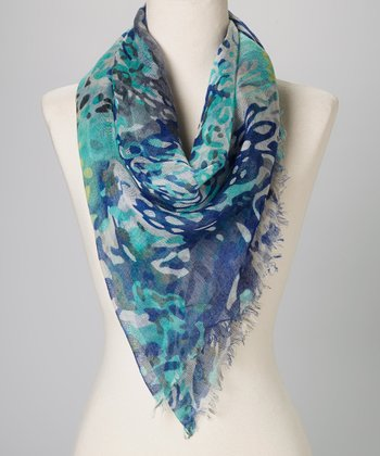 Betsey Johnson Blue Rock'n Rose Scarf