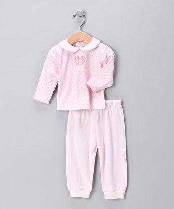 Pink Heart Polka Dot Top & Pants - Infant