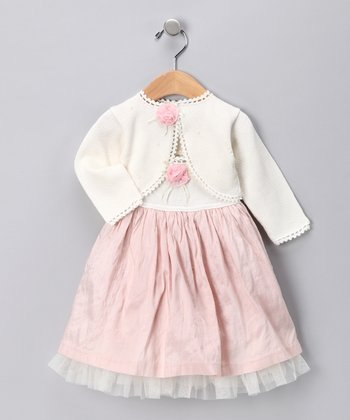 Off-White Floral Silk Dress & Cardigan - Infant