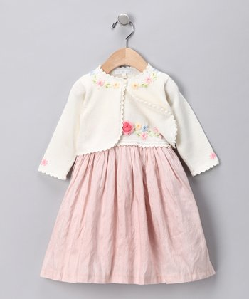 Pink Flower Melody Silk Dress & Cardigan - Infant & Toddler