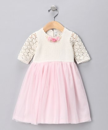 Off-White & Pink Floral Tulle Dress - Infant, Toddler & Girls