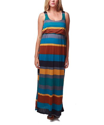 Teal Stripe Crocheted Maternity Maxi Dress