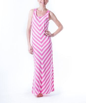 Pink Chevron Side-Slit Nightgown