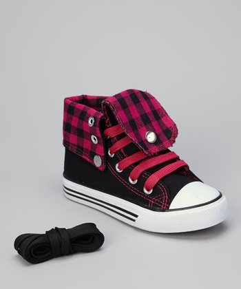 Black & Fuchsia Gingham Hi-Top Sneaker