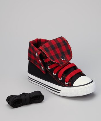 Black & Red Gingham Hi-Top Sneaker