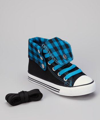 Black & Turquoise Gingham Hi-Top Sneaker