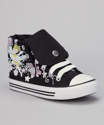 Black Flower Hi-Top Sneaker