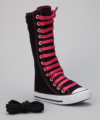 Black & Fuchsia Knee-High Sneaker