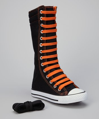 Black & Orange Knee-High Sneaker