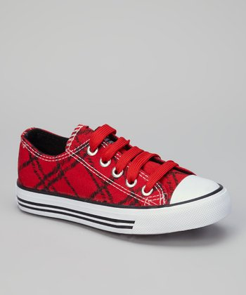 Red & Black Fence-Net Sneaker