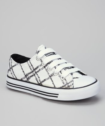White & Black Fence-Net Sneaker