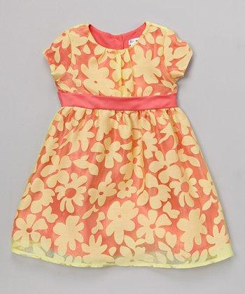Joe-Ella Yellow Floral Burnout Organza Dress - Infant, Toddler & Girls