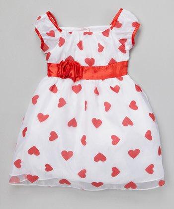 Joe-Ella White & Red Heart Organza Dress - Infant, Toddler & Girls