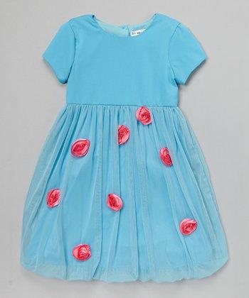 Joe-Ella Blue & Pink Rosette Overlay Dress - Toddler & Girls