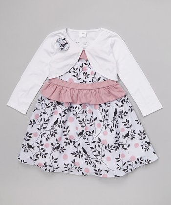 Joe-Ella Pink Bird Ruffle Dress & White Bolero - Toddler & Girls