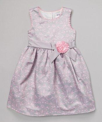 Joe-Ella Gray & Pink Damask Flower Dress - Girls