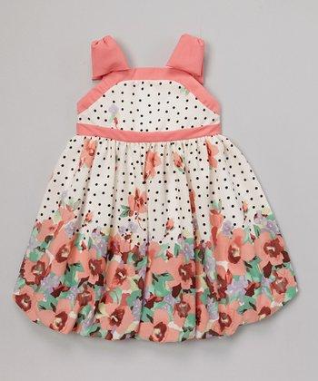 Joe-Ella Coral Floral Bow-Shoulder Dress - Infant, Toddler & Girls