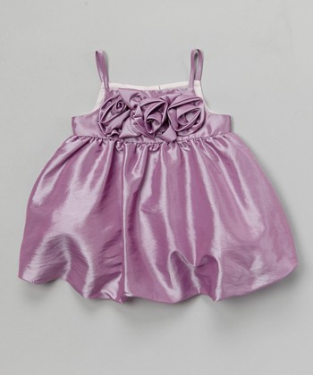 Joe-Ella Lilac Rosette Taffeta Dress - Toddler & Girls