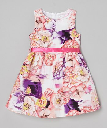 Joe-Ella Pink & Purple Floral A-Line Dress - Toddler & Girls