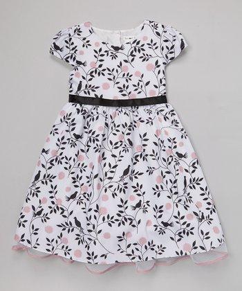 Joe-Ella White Bird Blossom Aubrey Dress - Girls