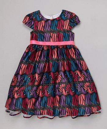 Joe-Ella Black & Pink Monarch Dress - Girls
