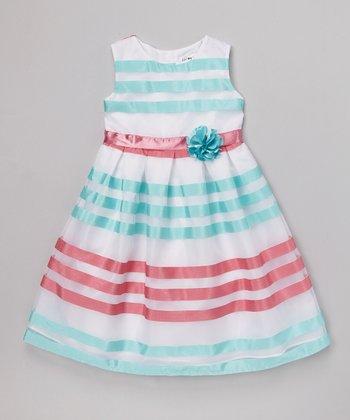 Joe-Ella Pink & Aqua Stripe A-Line Dress - Infant, Toddler & Girls