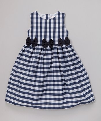 Joe-Ella Navy Gingham Bow Dress - Infant, Toddler & Girls