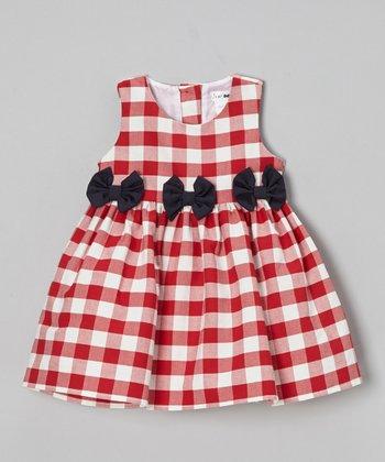 Joe-Ella Red Gingham Bow Dress - Infant, Toddler & Girls