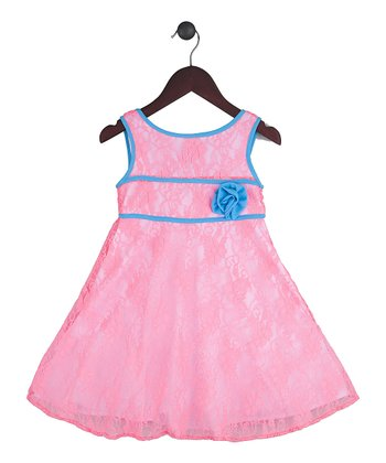 Halo Halo Girl Pink & Blue Lace Overlay Dress - Toddler & Girls