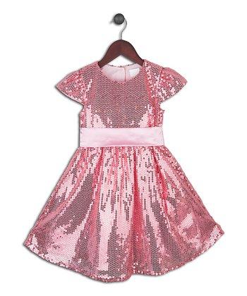 Joe-Ella Blush Pink Sequin A-Line Dress - Toddler & Girls