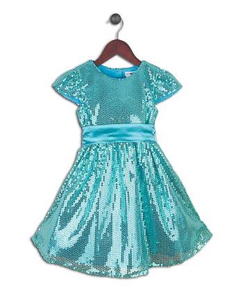 Joe-Ella Aqua Sequin A-Line Dress - Toddler & Girls