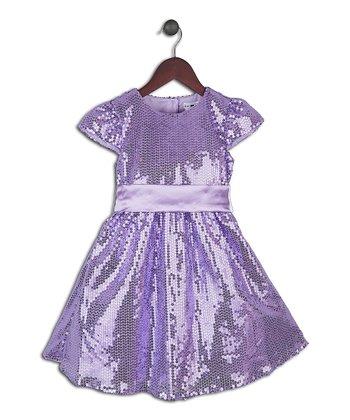 Joe-Ella Lavender Sequin A-Line Dress - Toddler & Girls