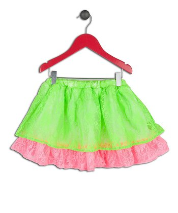 Halo Halo Girl Lime Lace Layered Skirt - Toddler & Girls