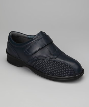 Navy Prudence Leather Slip On