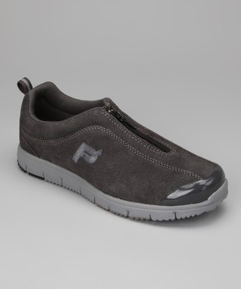 Denim Pewter Suede Travel Walker Zip Sneaker
