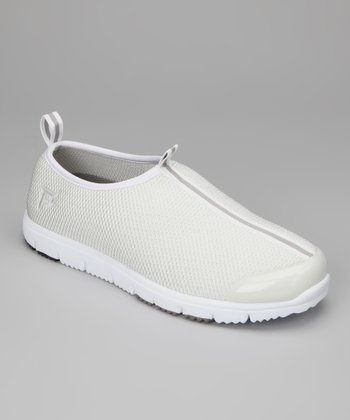 White Travel Walker Mesh Slip-On Shoe