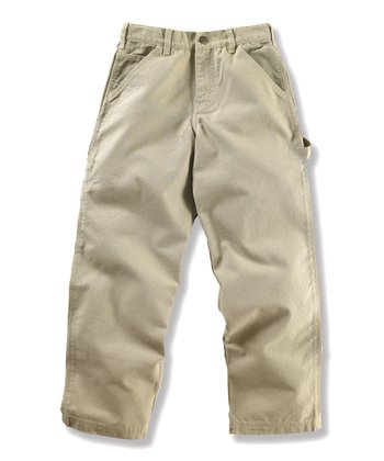Tan Duck Dungaree Pants - Girls
