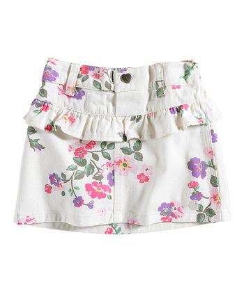 White Floral Tiered Skirt & Diaper Cover - Infant