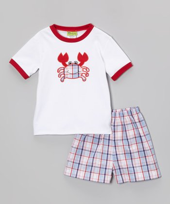 Red Crab Ringer Tee & Plaid Shorts - Infant, Toddler & Boys