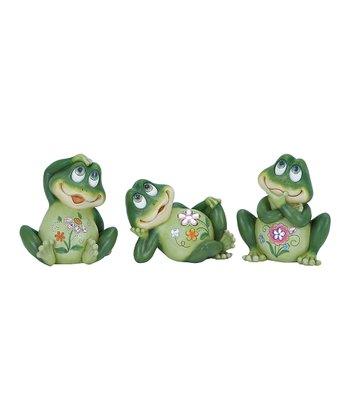 Green Floral Frog Statue Set