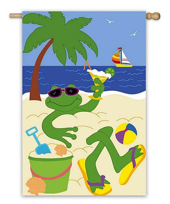 Green & Blue Frog Beach Garden Flag